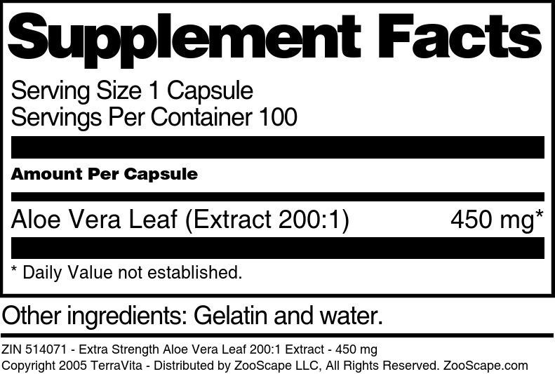Aloe Vera Extract 200:1
