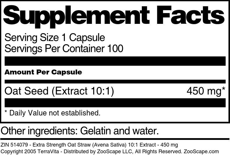 Extra Strength Oat Straw (Avena Sativa) 10:1 Extract - 450 mg