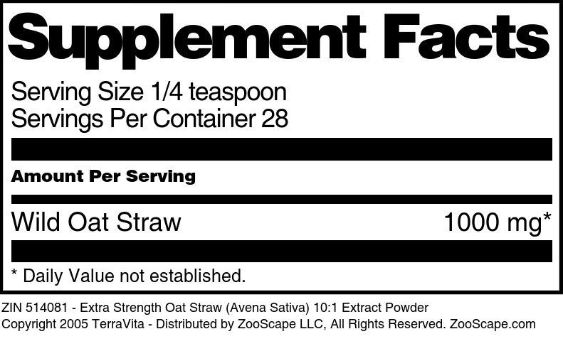 Extra Strength Oat Straw (Avena Sativa) 10:1 Extract Powder