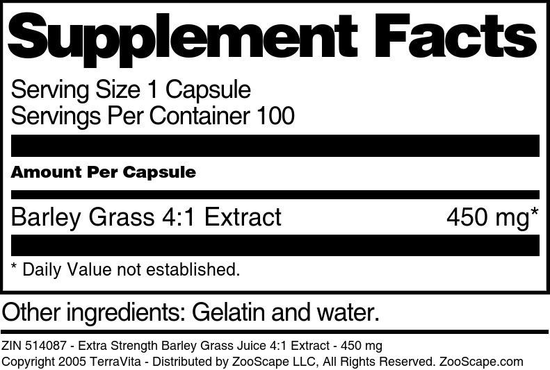 Extra Strength Barley Grass Juice 4:1 Extract - 450 mg