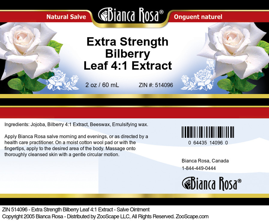 Extra Strength Bilberry Leaf 4:1 Extract - Salve Ointment