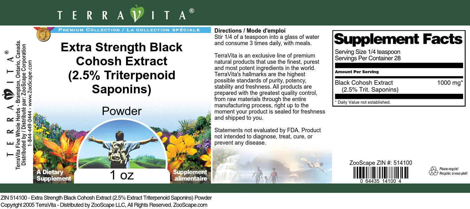 Extra Strength Black Cohosh Extract (2.5% Triterpenoid Saponins) Powder