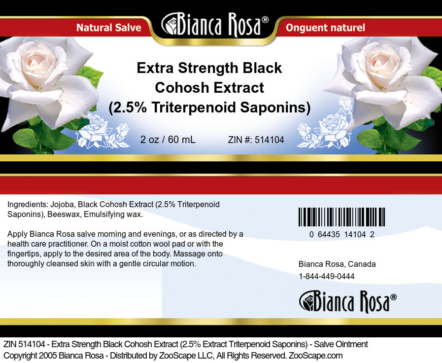 Extra Strength Black Cohosh Extract (2.5% Triterpenoid Saponins) - Salve Ointment