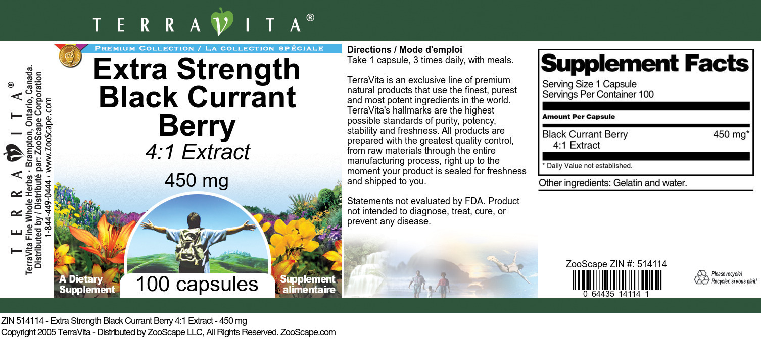 Extra Strength Black Currant Berry 4:1 Extract - 450 mg