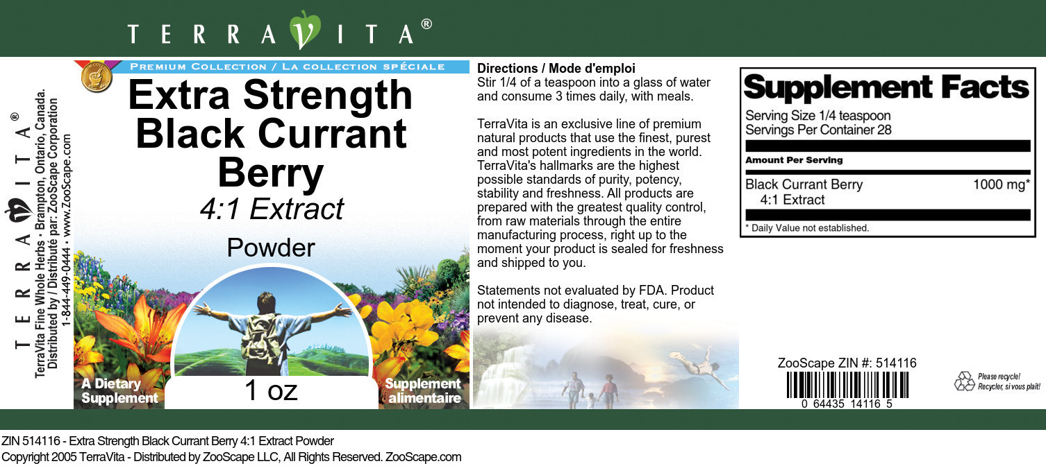 Extra Strength Black Currant Berry 4:1 Extract Powder