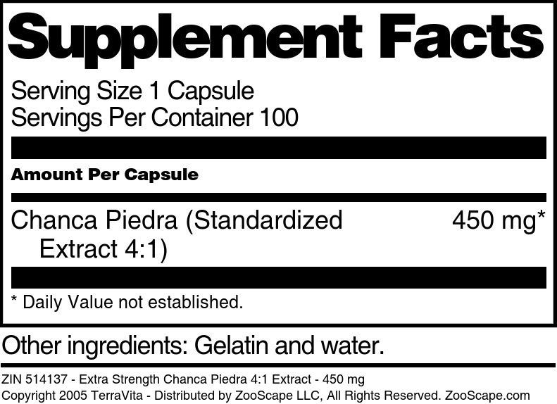 Extra Strength Chanca Piedra 4:1 Extract - 450 mg