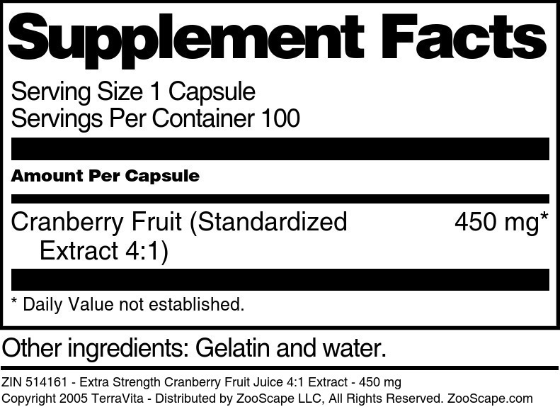 Extra Strength Cranberry Fruit Juice 4:1 Extract - 450 mg