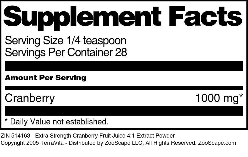 Extra Strength Cranberry Fruit Juice 4:1 Extract Powder