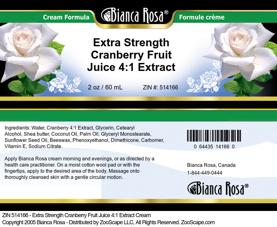 Extra Strength Cranberry Fruit Juice 4:1 Extract Cream