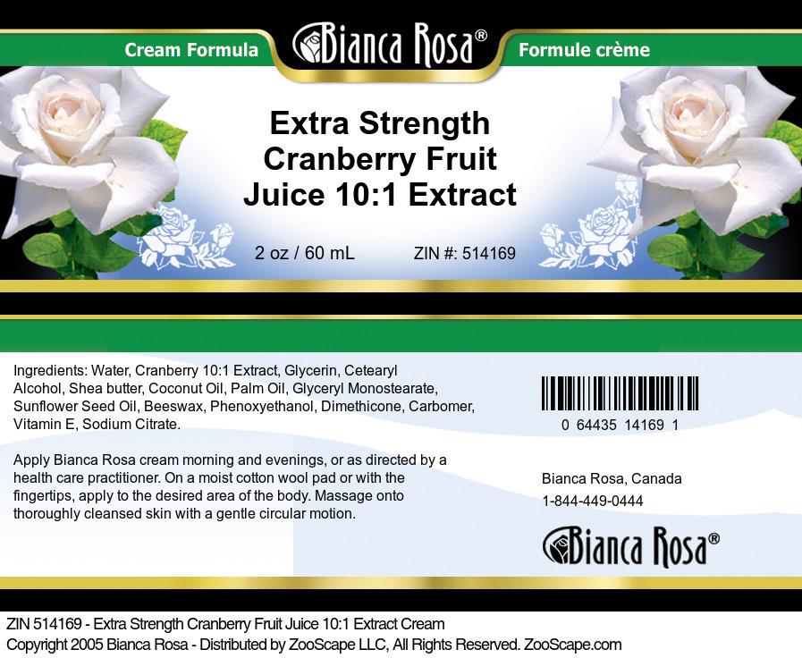 Extra Strength Cranberry Fruit Juice 10:1 Extract Cream