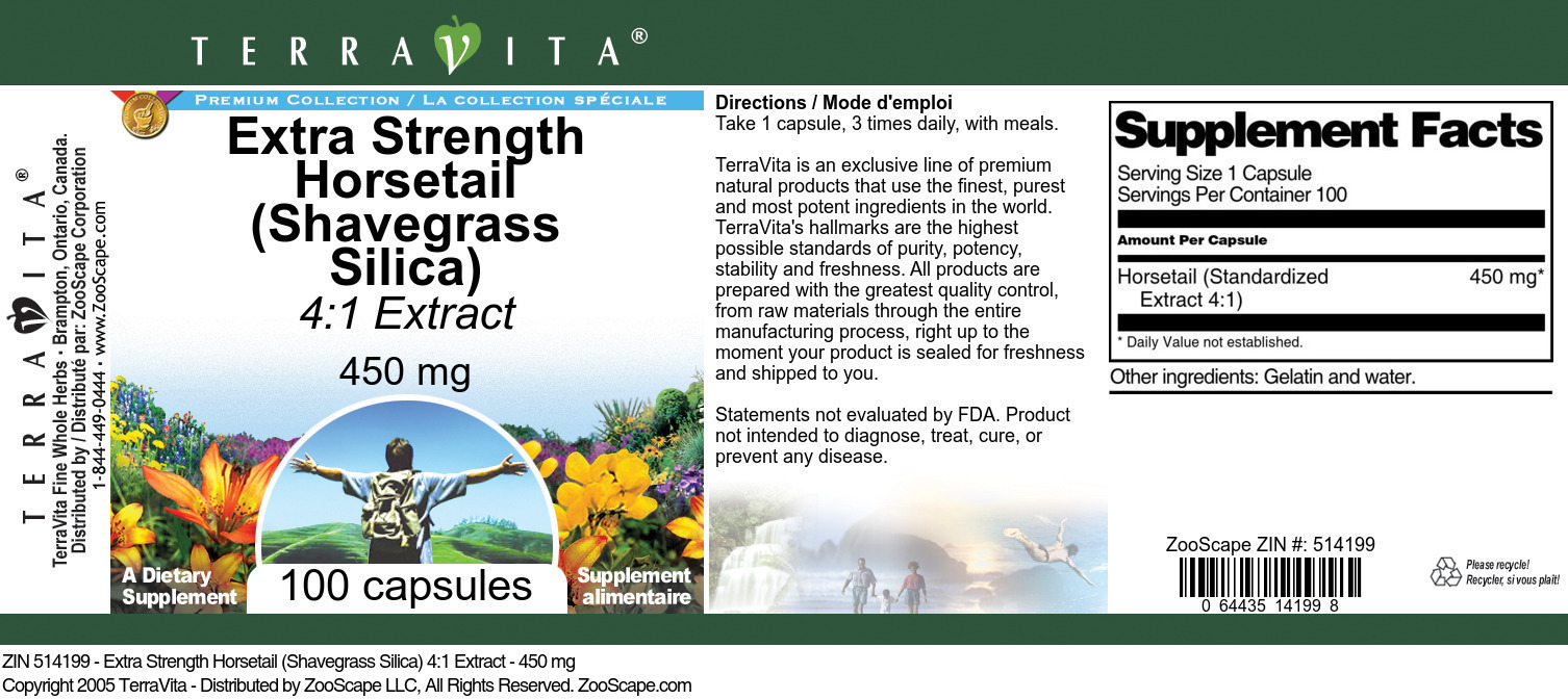 Extra Strength Horsetail (Shavegrass Silica) 4:1 Extract - 450 mg