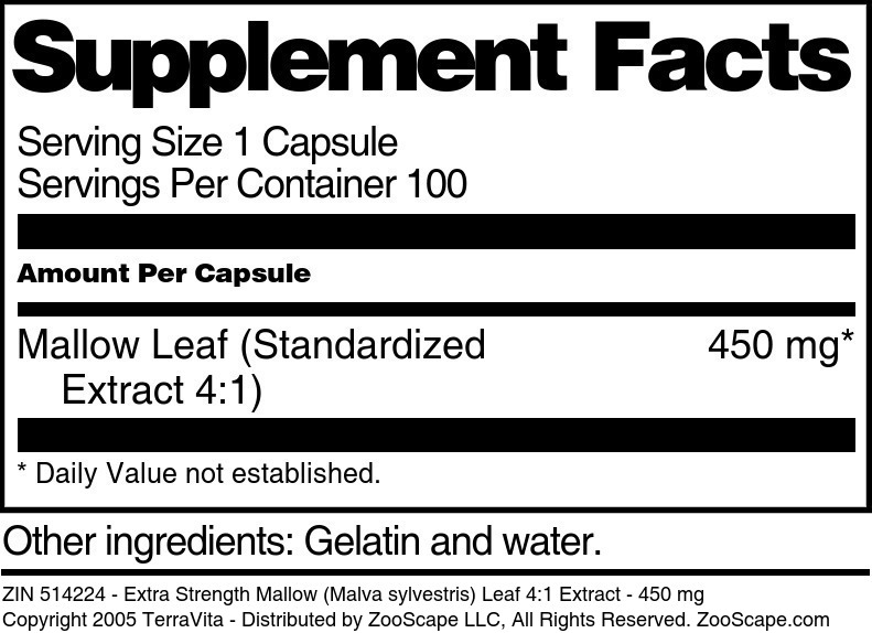 Extra Strength Mallow (Malva sylvestris) Leaf 4:1 Extract - 450 mg