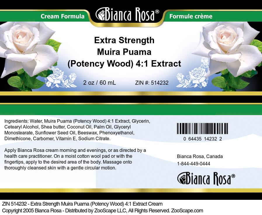 Extra Strength Muira Puama (Potency Wood) 4:1 Extract Cream