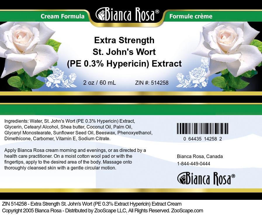 Extra Strength St. John's Wort (PE 0.3% Hypericin) Extract Cream