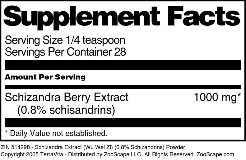 Schizandra Extract (Wu Wei Zi) (0.8% Schizandrins) Powder