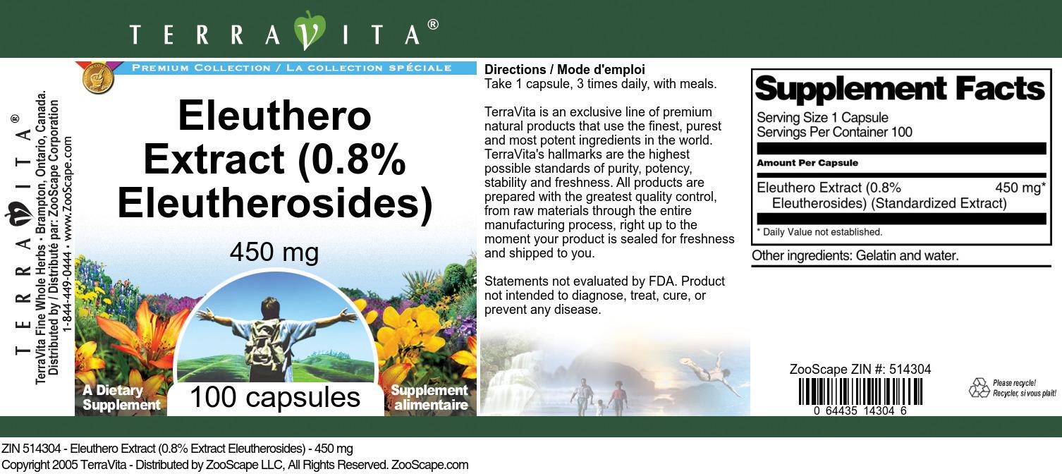 Eleuthero Extract (0.8% Eleutherosides) - 450 mg