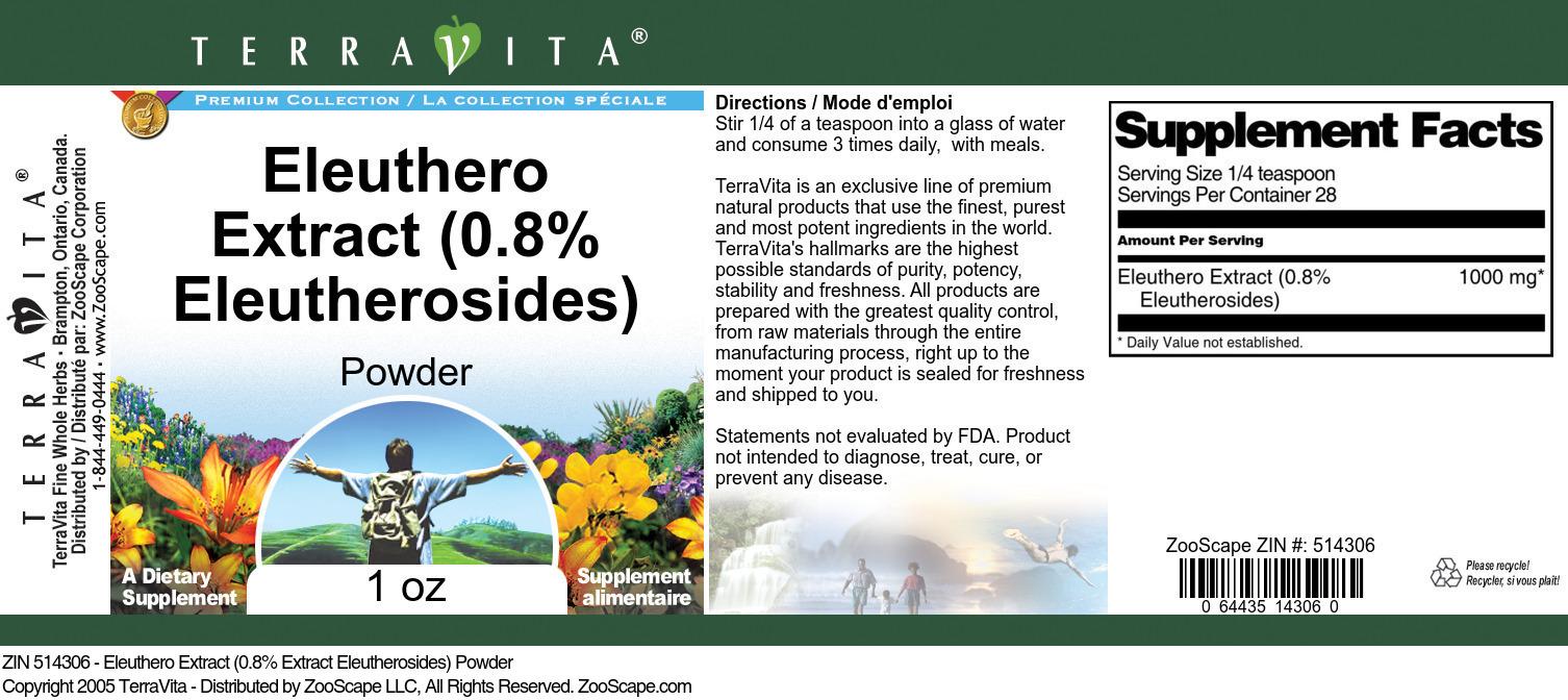 Eleuthero Extract (0.8% Eleutherosides) Powder
