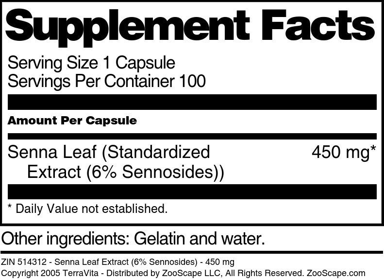 Senna Leaf Extract (6% Sennosides) - 450 mg