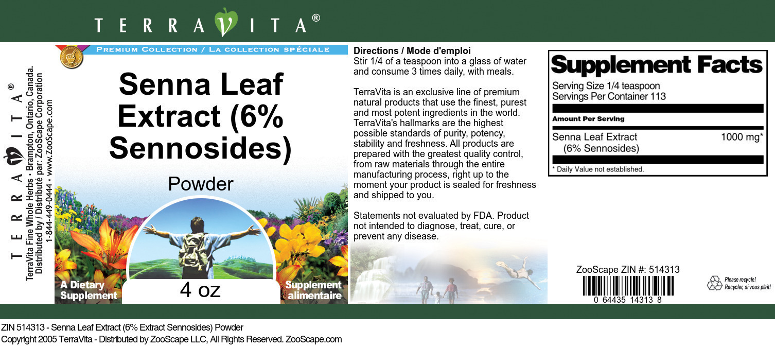 Senna Leaf Extract (6% Sennosides) Powder