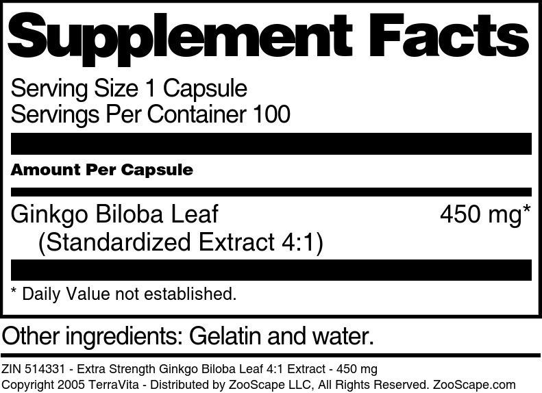 Extra Strength Ginkgo Biloba Leaf 4:1 Extract - 450 mg