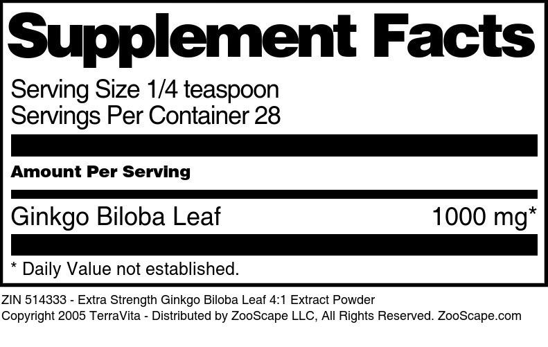 Extra Strength Ginkgo Biloba Leaf 4:1 Extract Powder