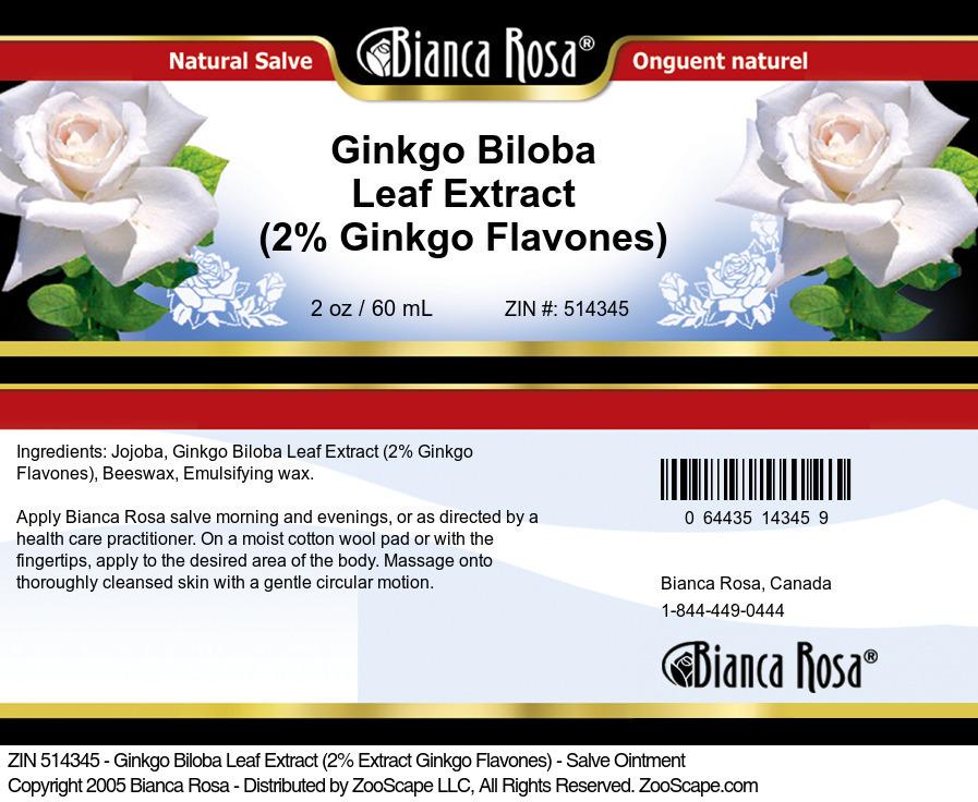 Ginkgo Biloba Leaf Extract (2% Ginkgo Flavones) - Salve Ointment