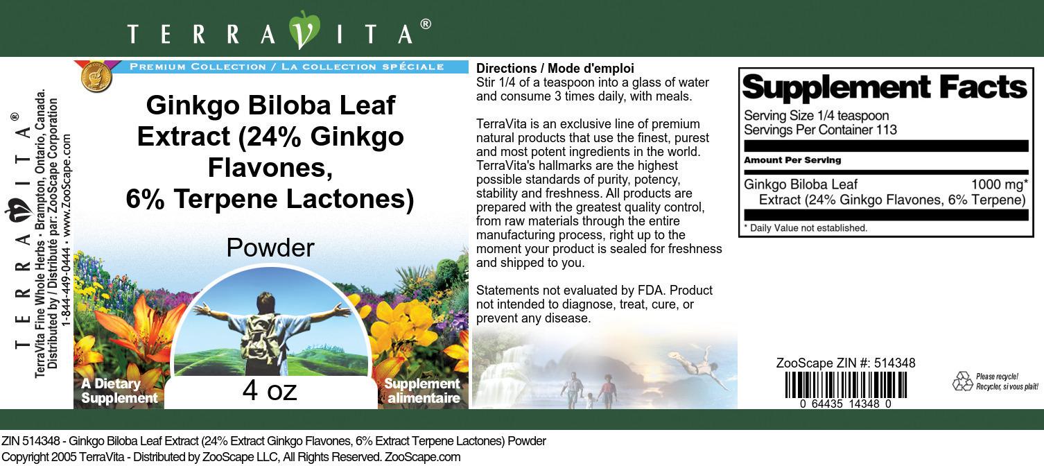 Ginkgo Biloba Leaf Extract (24% Ginkgo Flavones, 6% Terpene Lactones) Powder