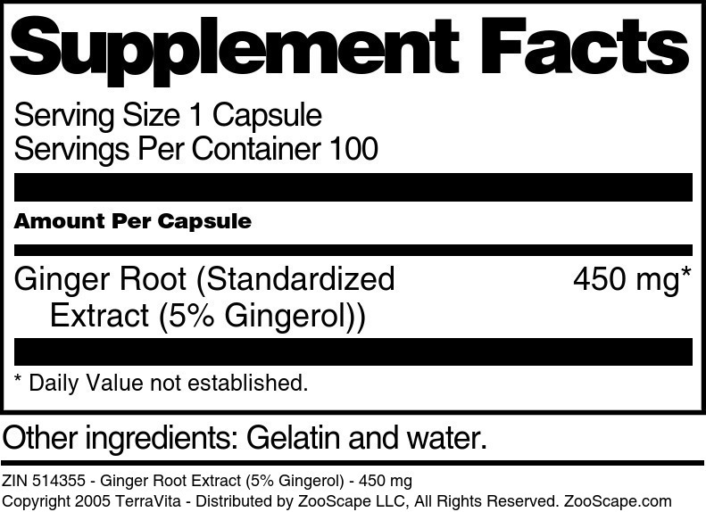 Ginger Root Extract (5% Gingerol) - 450 mg
