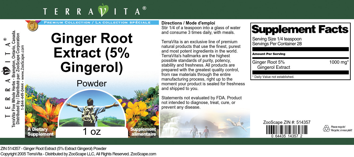 Ginger Root Extract (5% Gingerol) Powder
