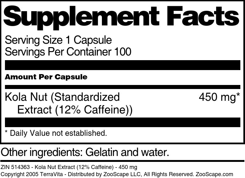 Kola Nut Extract (12% Caffeine) - 450 mg