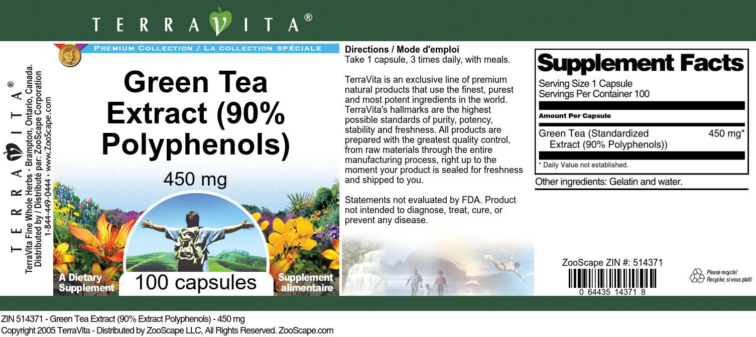 Green Tea Extract (90% Polyphenols) - 450 mg