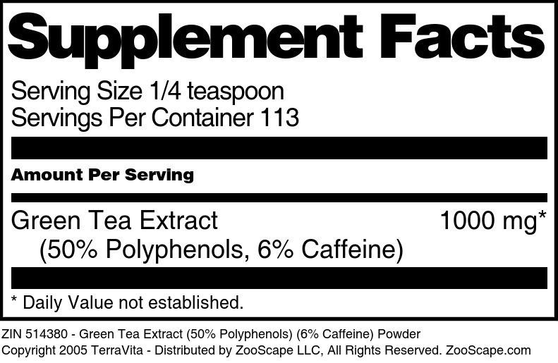 Green Tea Extract (50% Polyphenols) (6% Caffeine) Powder