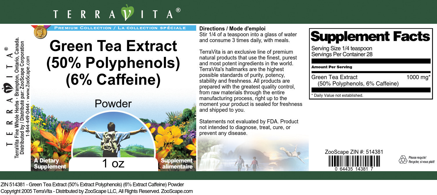 Green Tea Extract <BR>(50% Polyphen, 6% Caff.)