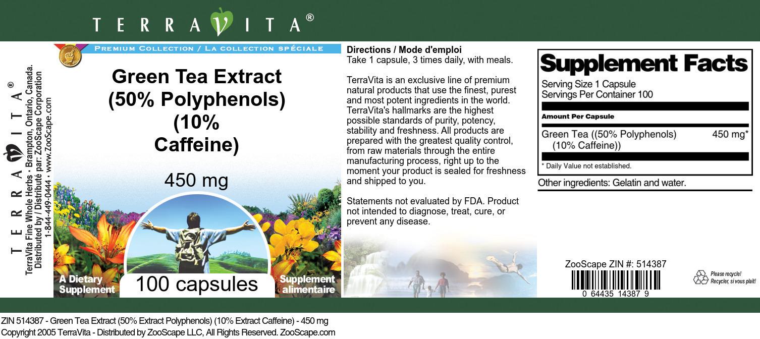 Green Tea Extract (50% Polyphenols) (10% Caffeine) - 450 mg