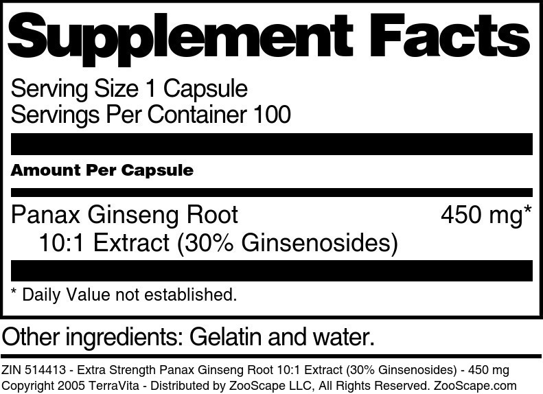 Extra Strength Panax Ginseng Root 10:1 Extract (30% Ginsenosides) - 450 mg