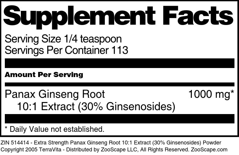 Extra Strength Panax Ginseng Root 10:1 Extract (30% Ginsenosides) Powder