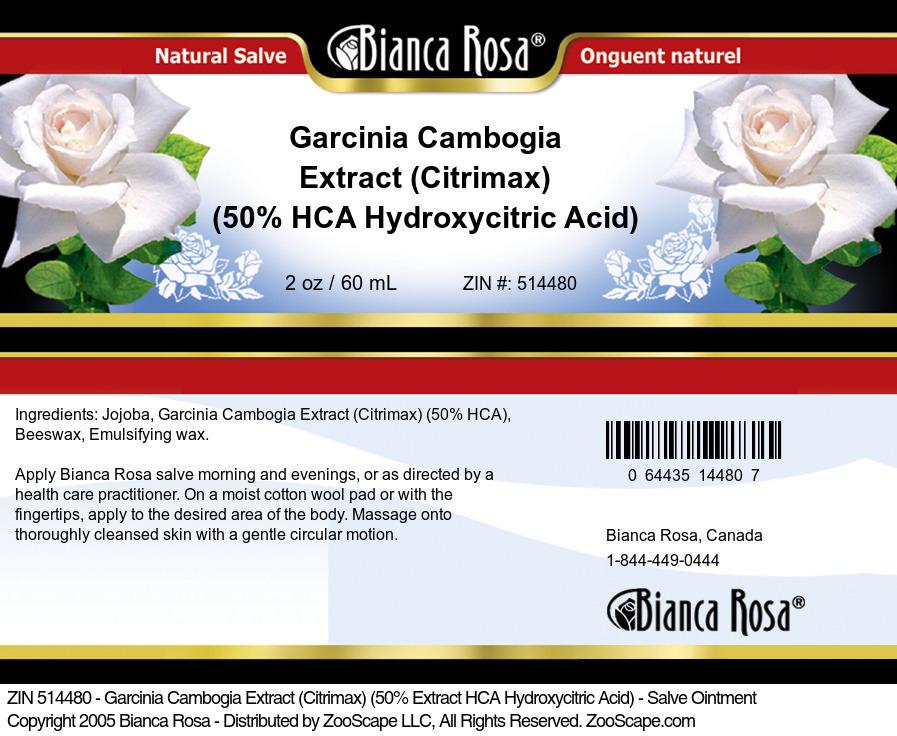 Garcinia Cambogia Extract (Citrimax) (50% HCA Hydroxycitric Acid) - Salve Ointment