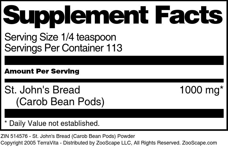 St. John's Bread (Carob Bean Pods) Powder