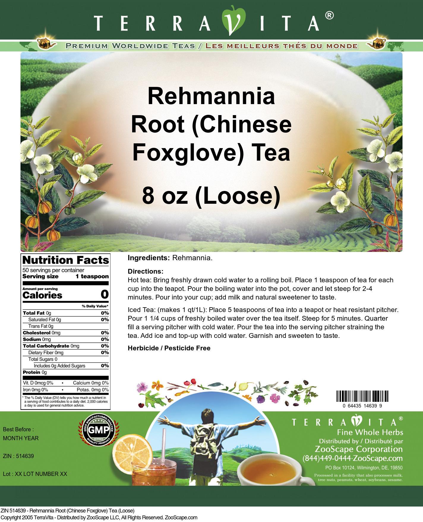 Rehmannia Root (Chinese Foxglove) Tea (Loose)