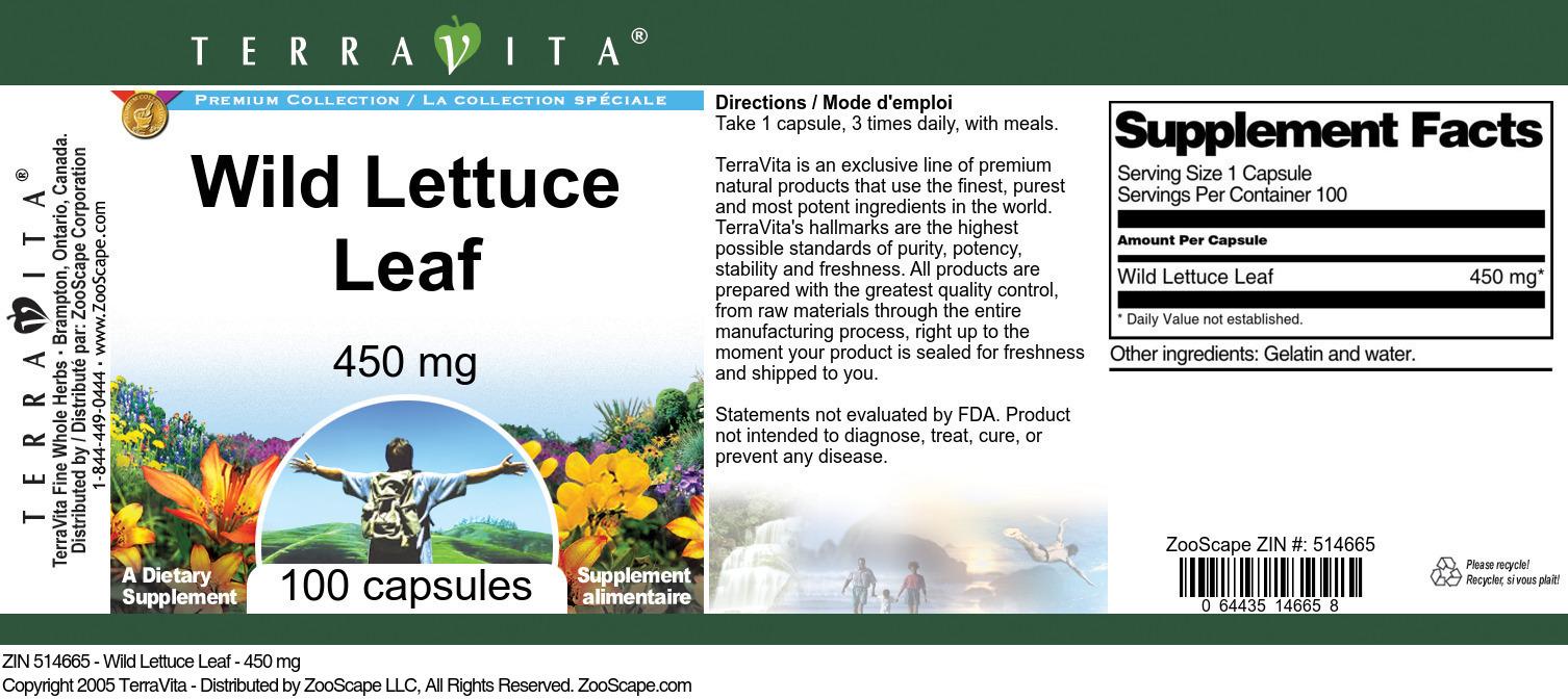 Wild Lettuce Leaf - 450 mg