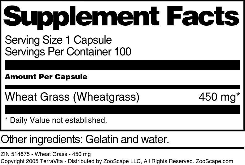 Wheat Grass - 450 mg