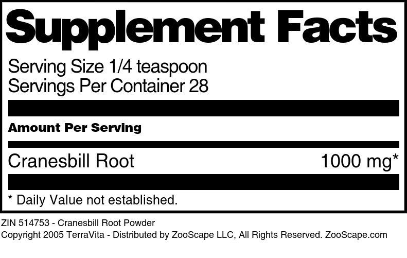 Cranesbill Root Powder
