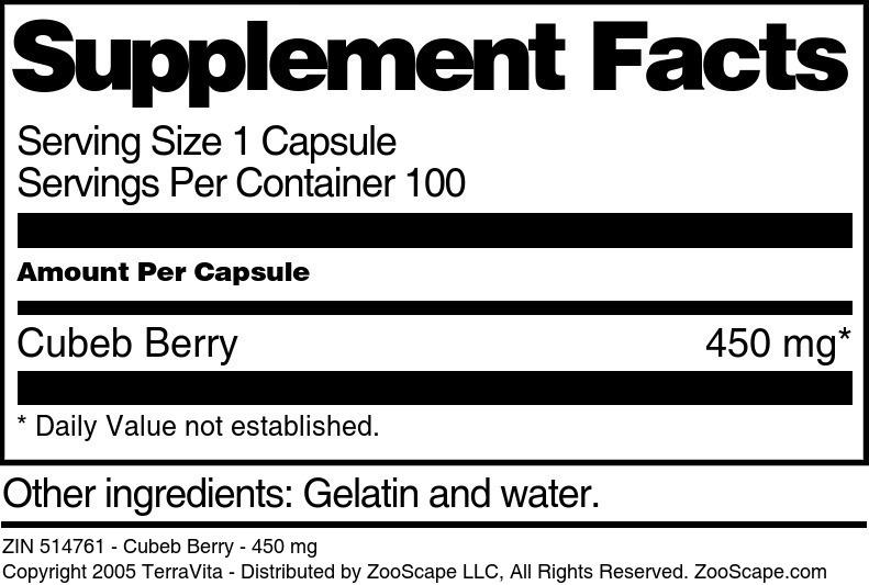 Cubeb Berry - 450 mg