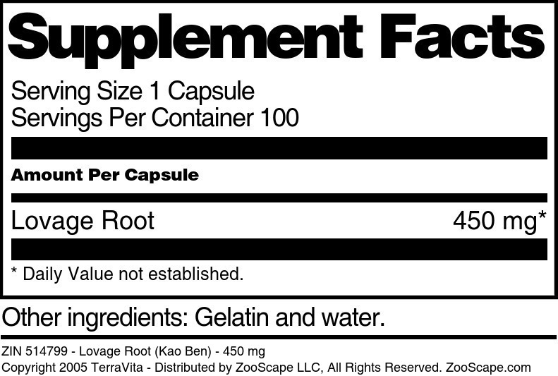Lovage Root (Kao Ben) - 450 mg