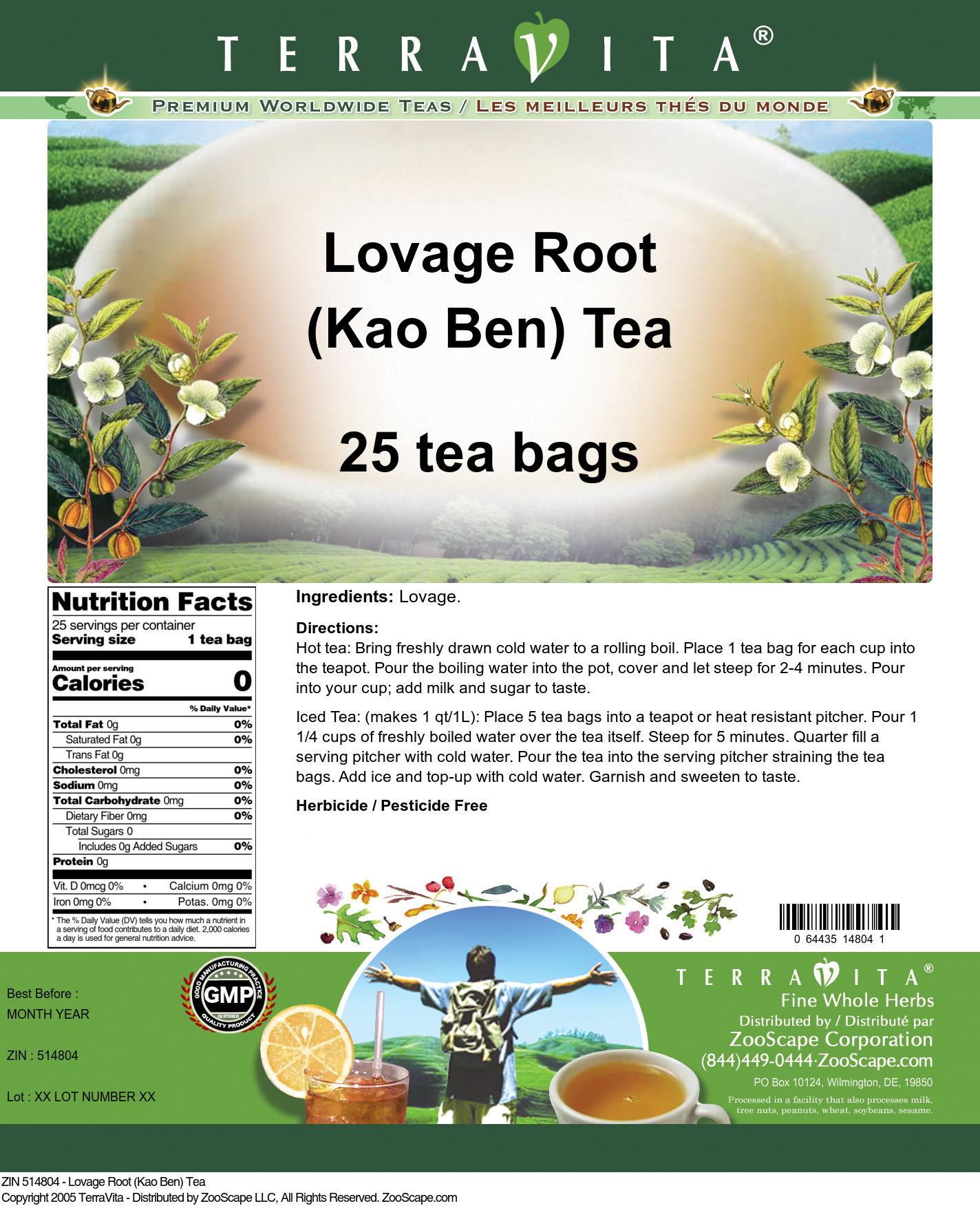 Lovage Root (Kao Ben) Tea