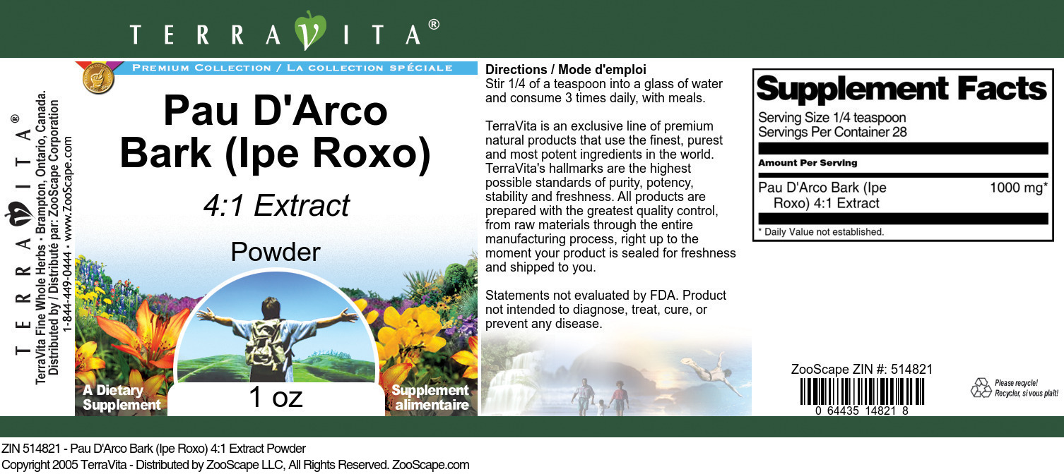 Pau D'Arco Bark (Ipe Roxo) 4:1 Extract Powder