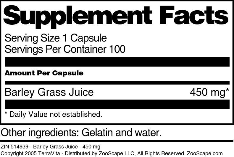 Barley Grass Juice - 450 mg