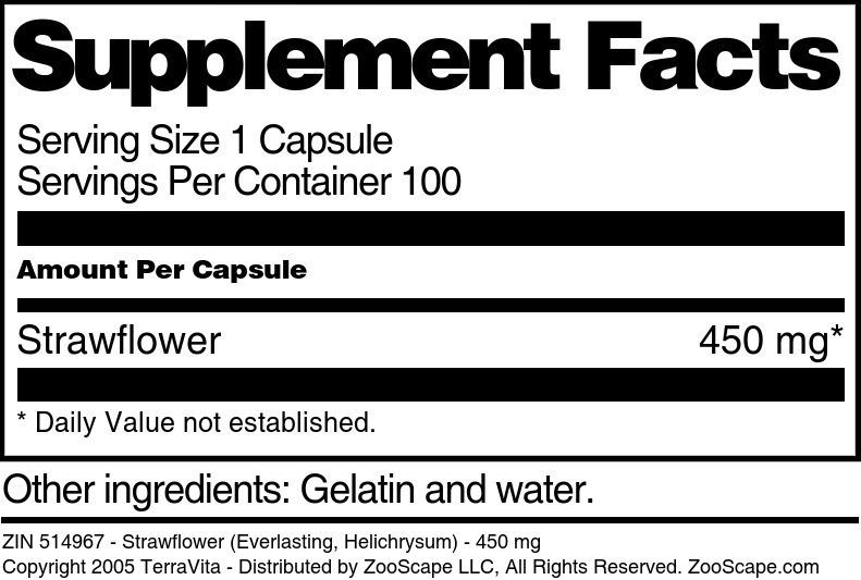 Strawflower (Everlasting, Helichrysum) - 450 mg