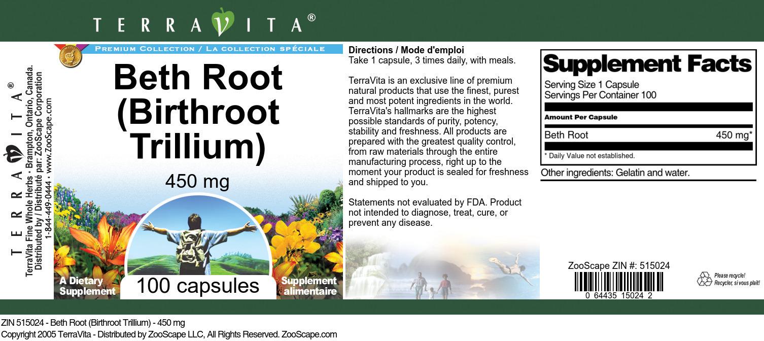Beth Root (Birthroot Trillium) - 450 mg
