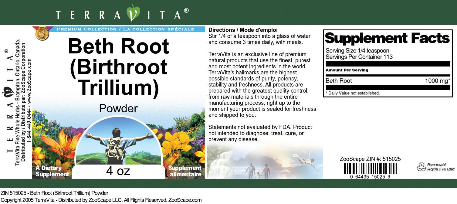 Beth Root (Birthroot Trillium) Powder